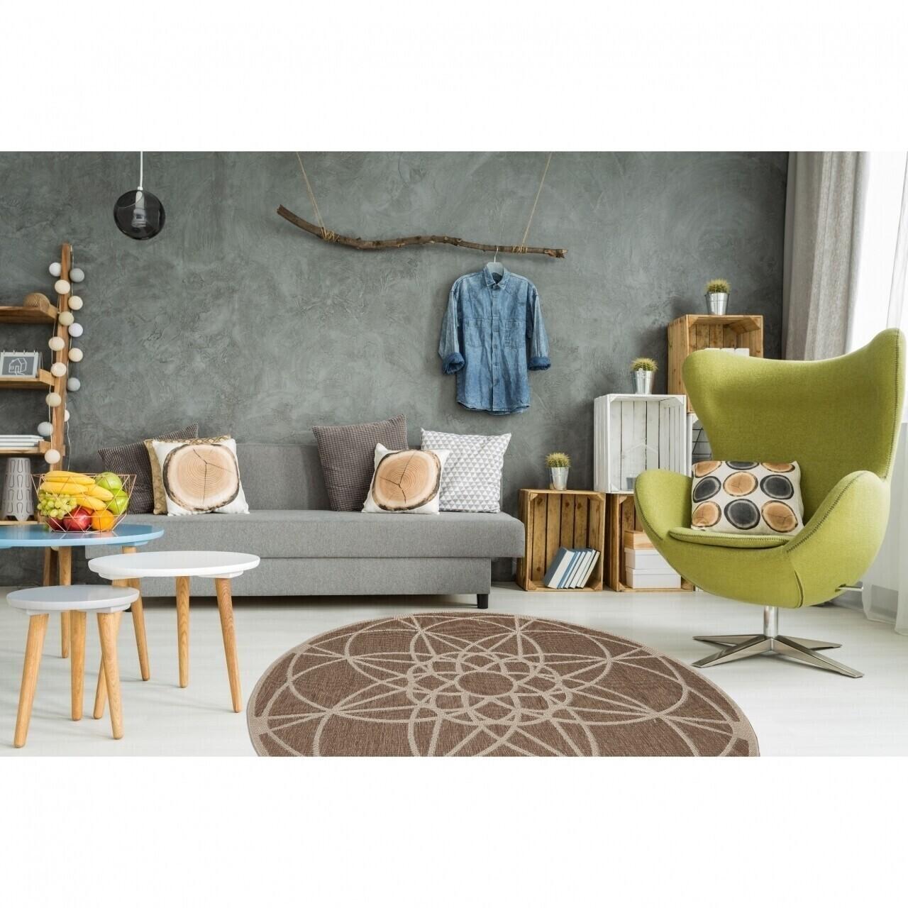 Covor indoor outdoor Floorita TONDO MINK 194 cm