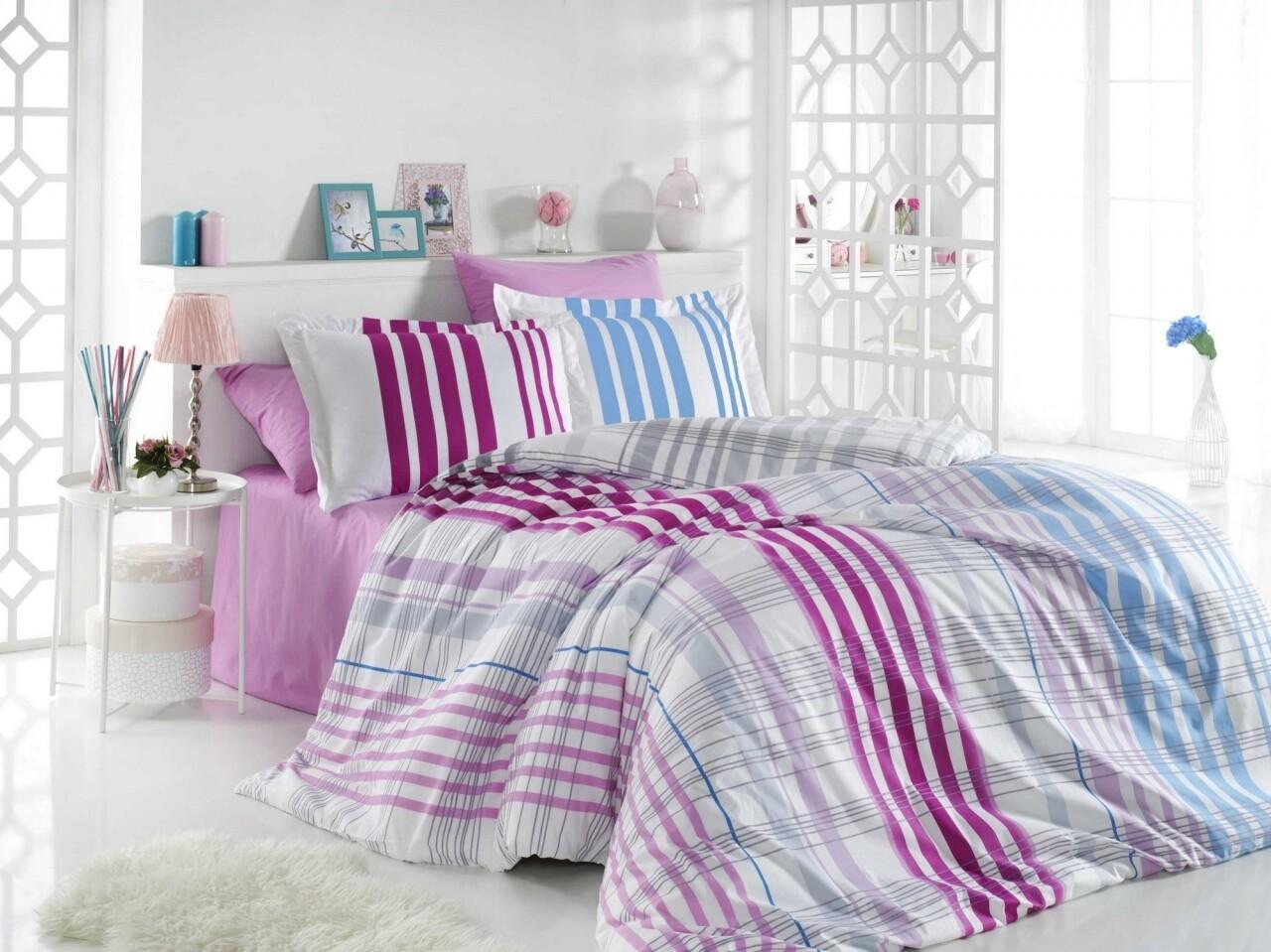 Lenjerie de pat pentru o persoana, 3 piese, 100% bumbac poplin, Hobby, Stripe Fuchsia, multicolora