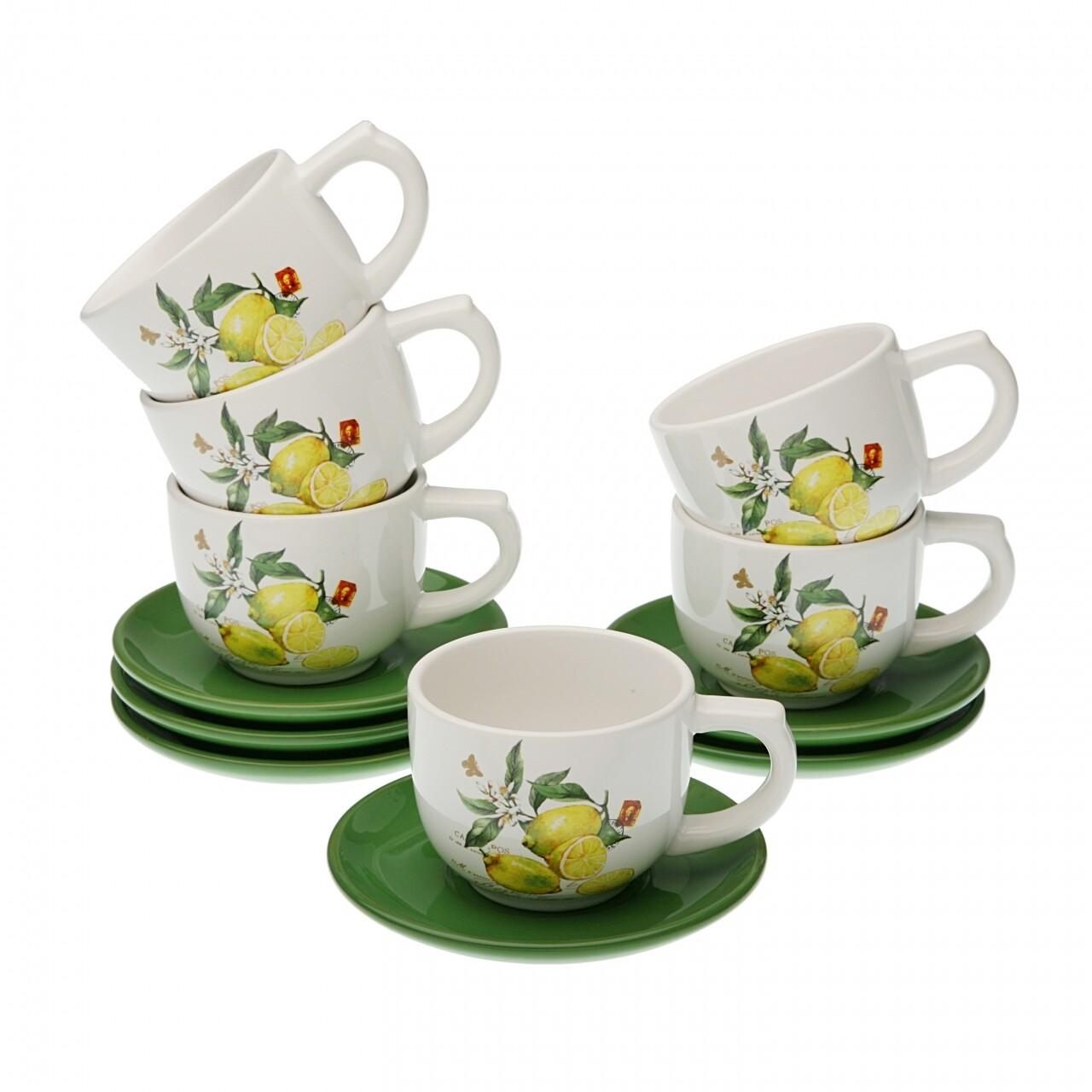 Set 6 cesti cu farfurioare pentru ceai, Versa, 200 ml, ceramica, verde/galben