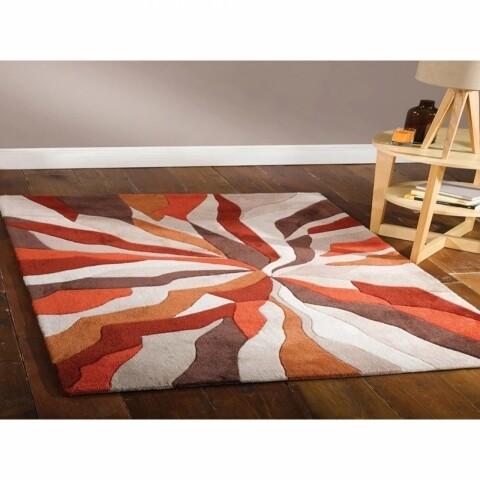 Covor Infinite Splinter Orange, Flair Rugs, 80 x 150 cm, 100% poliester, portocaliu/bej