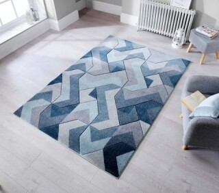 Covor lucrat manual Aurora Denim Blue, Flair Rugs, 160 x 230 cm, 100% polipropilena, albastru