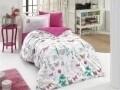 Lenjerie de pat pentru o persoana, 3 piese, 100% bumbac poplin, Hobby, Rossella Fuchsia, multicolora