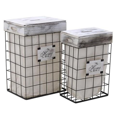 Set 2 cosuri de rufe InArt, metal/poliester, alb/negru