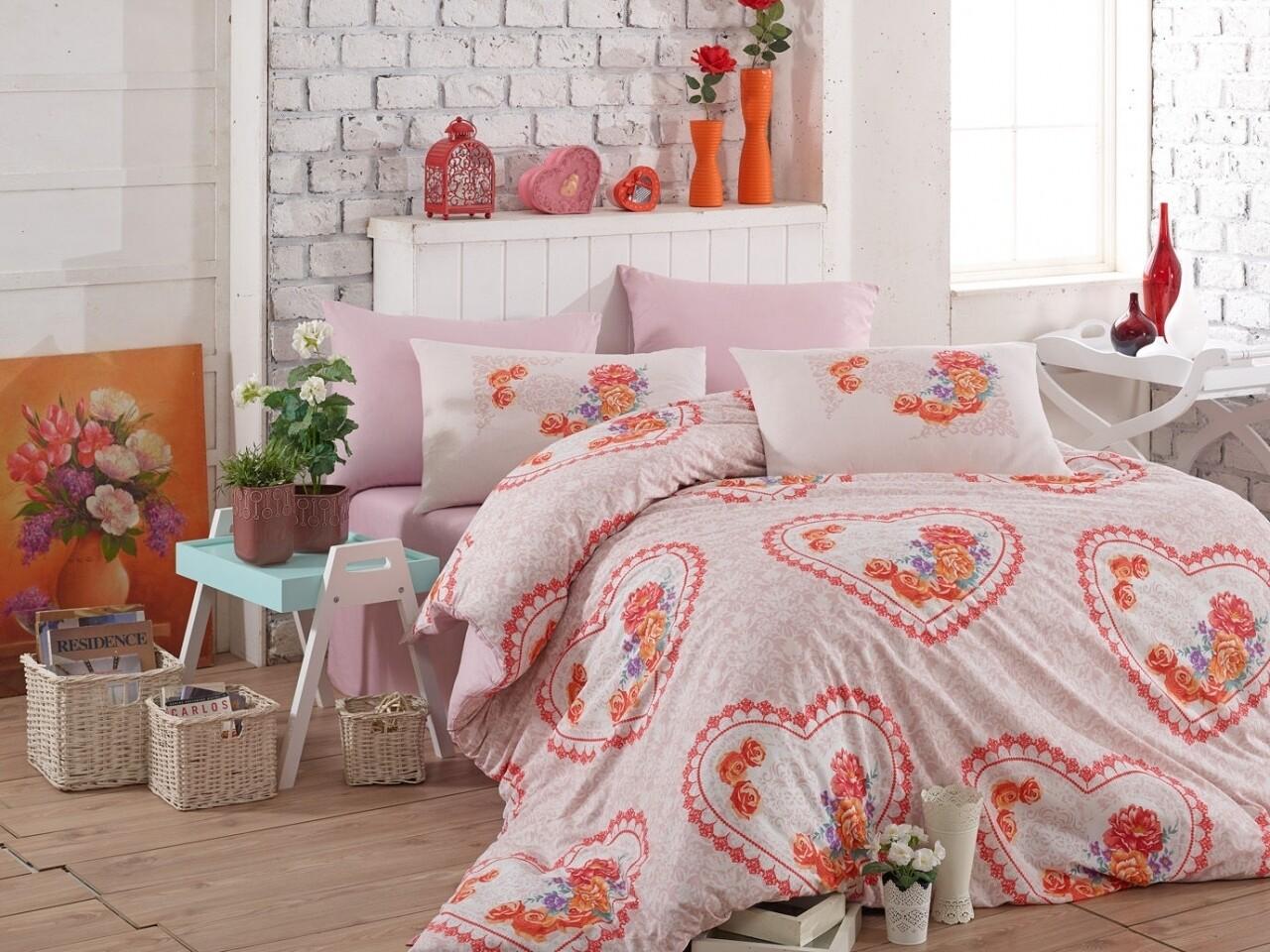 Lenjerie de pat pentru o persoana, 3 piese, 100% bumbac ranforce, Hobby, Lovely, roz