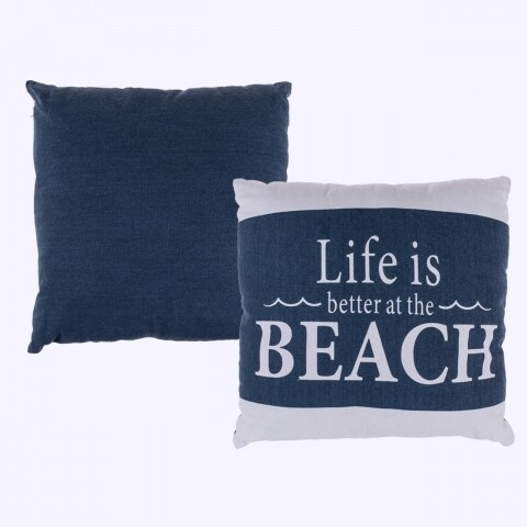 Pernă Blue/White Life is better at the beach