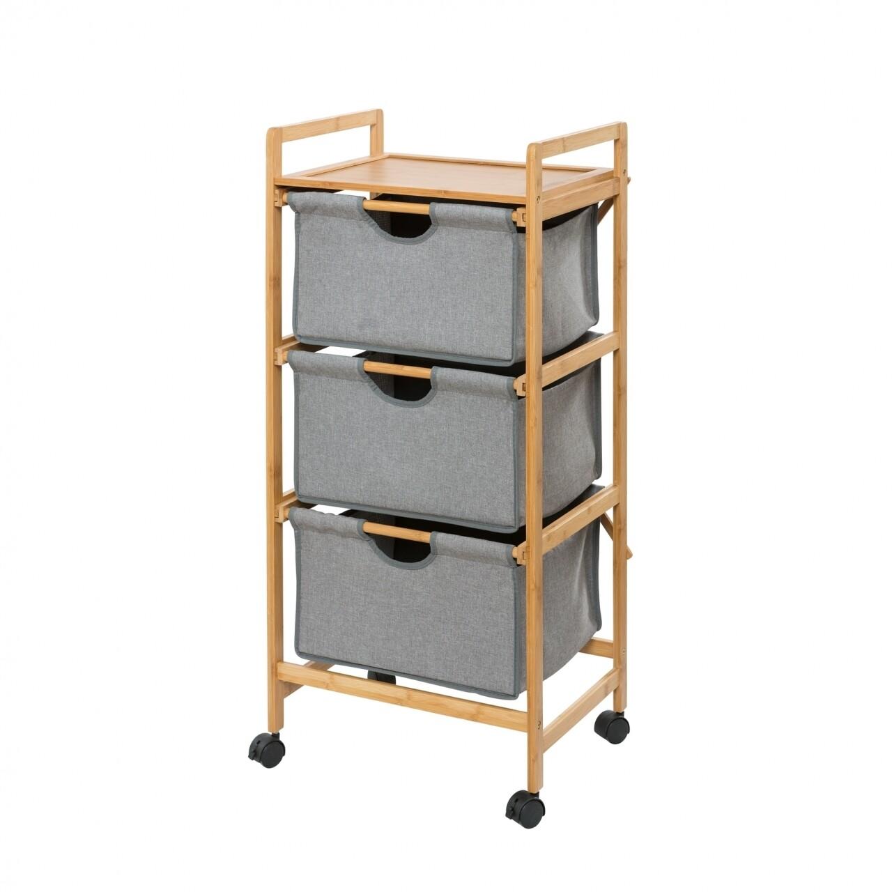 Suport etajat cu 3 sertare mobil Bahari, Wenko, 44 x 96 cm, bambus/poliester/bumbac, natur/gri