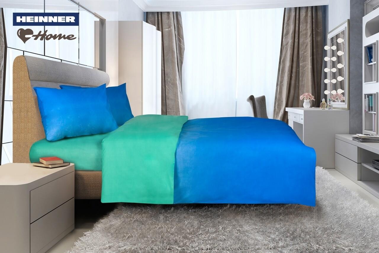 Lenjerie de pat dubla Marine, Heinner Home, 4 piese,  220 x 240 cm, 100% bumbac, albastru cu verde