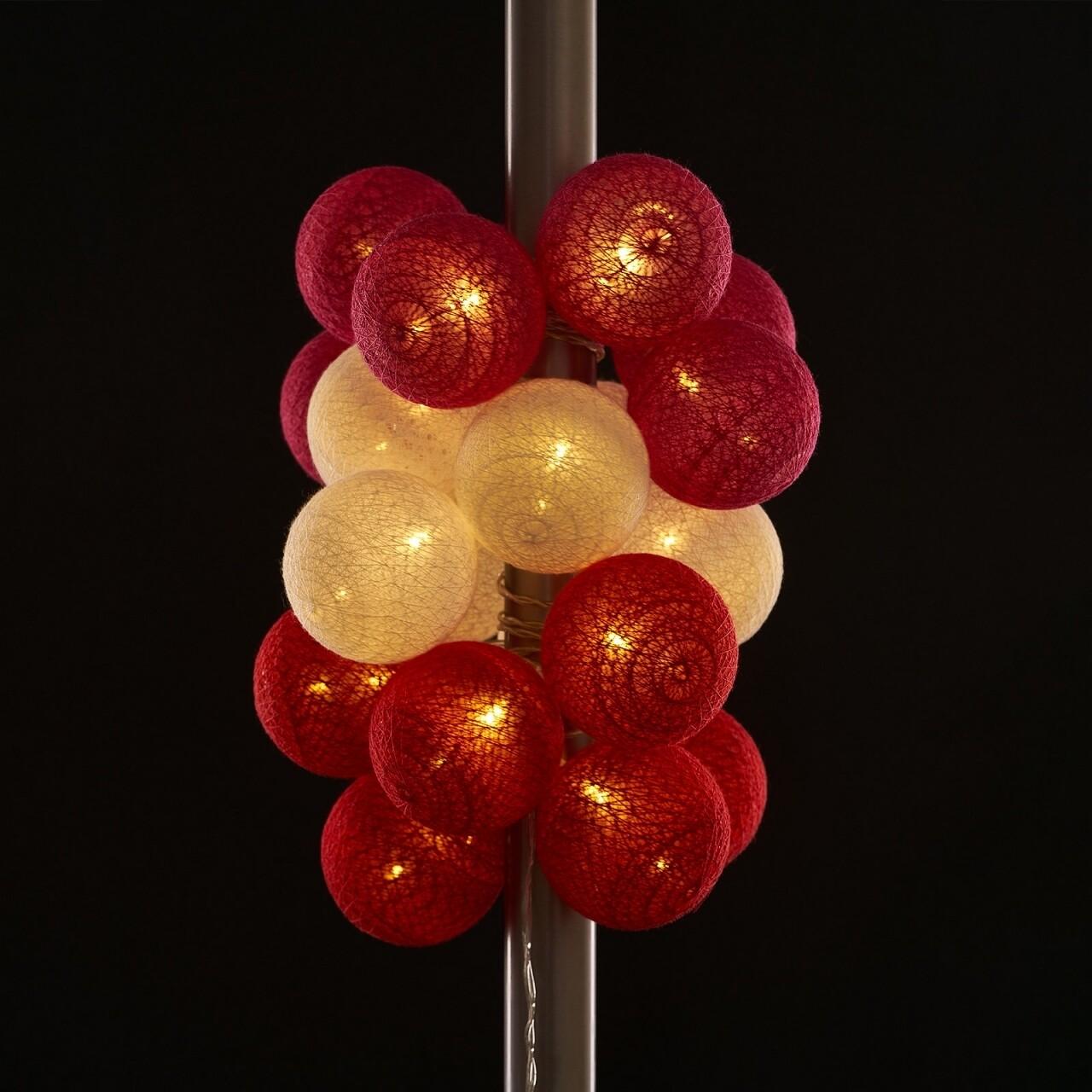 Ghirlanda luminoasa cu 20 LED-uri Red, Heinner Home, 330 cm, plastic, alb/rosu