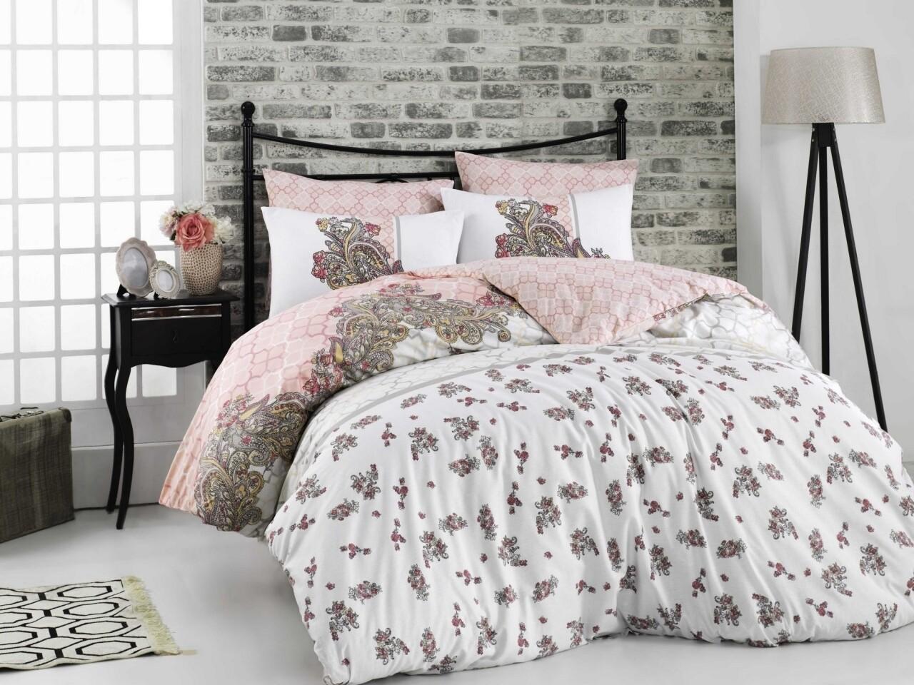 Lenjerie de pat pentru o persoana, 3 piese, 100% bumbac ranforce, Hobby, Emiliana, alb/roz