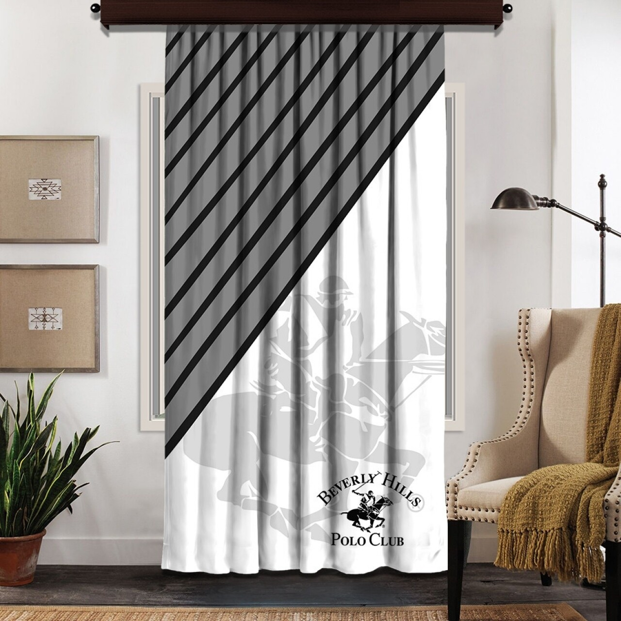 Draperie Beverly Hills Polo Club, 140x260, 100% poliester, Black/White/Grey