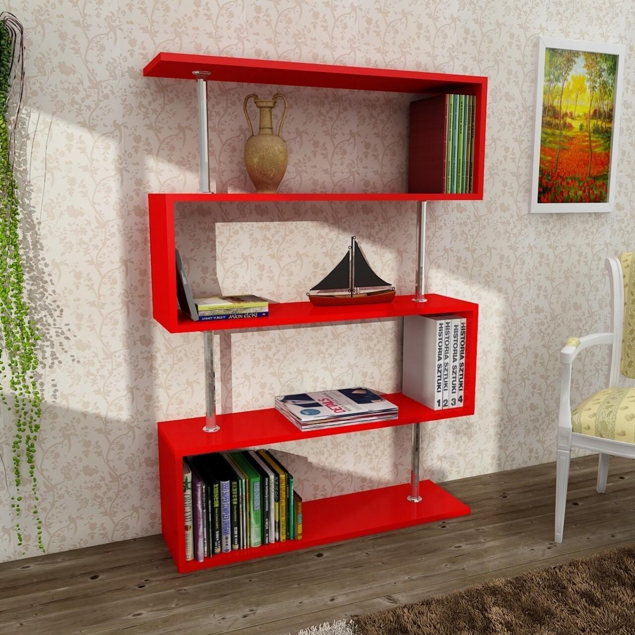 Biblioteca Wooden Art, Sunrise Red, 90x129x22 cm