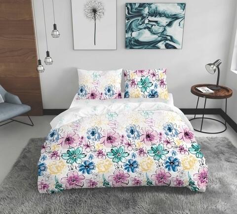 Lenjerie de pat dubla Flowers, Bedora, 4 piese, 200x220, 100% bumbac, multicolor