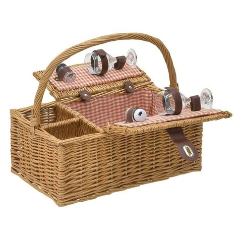 Cos de picnic pentru 2 persoane, InArt, 40x30x20 cm, bej/rosu