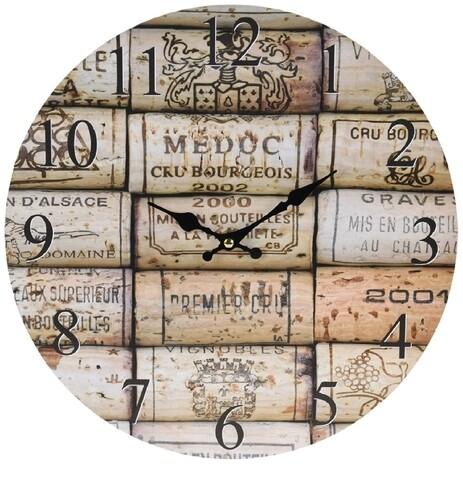 Ceas de perete Stopper Wine, Ø 33 cm, multicolor