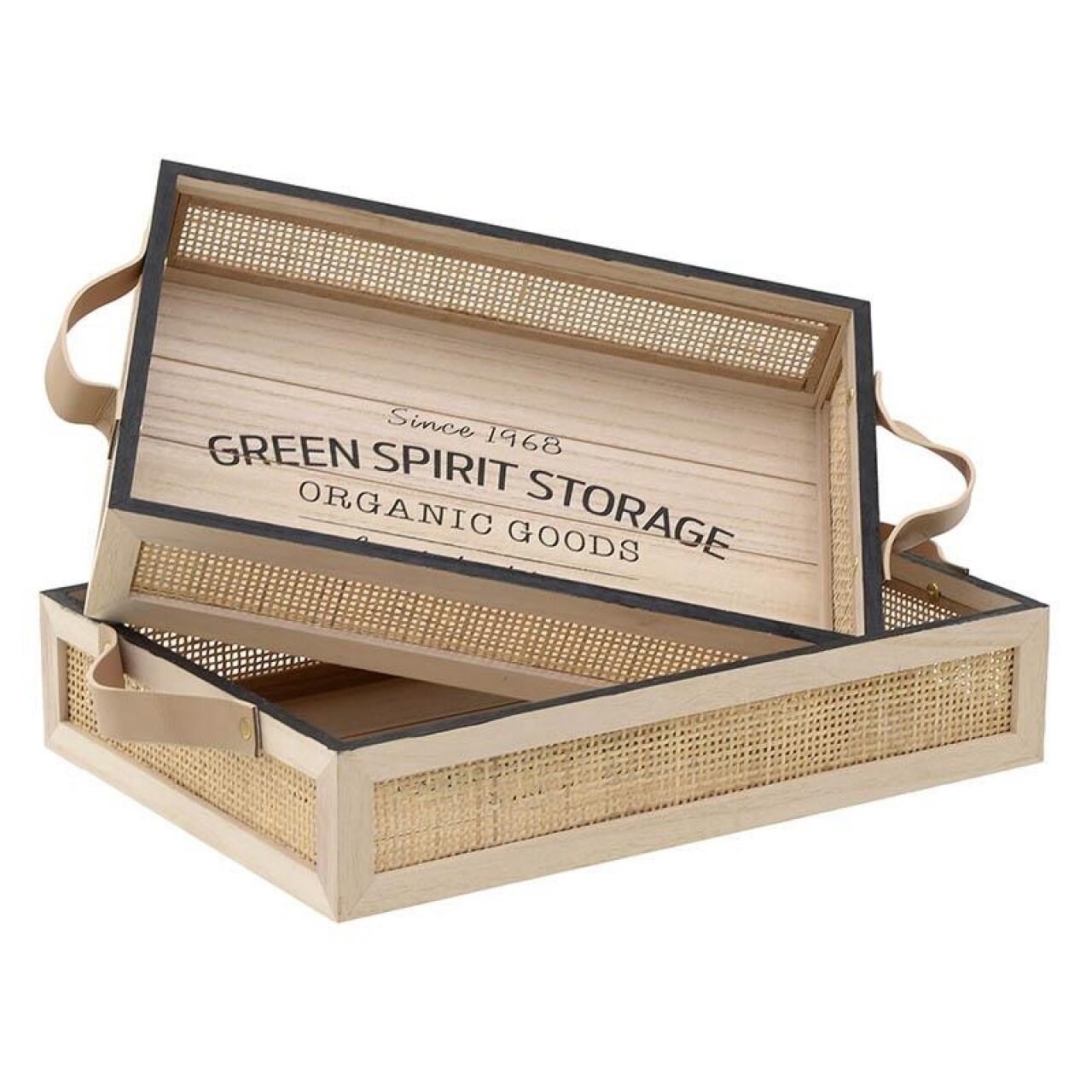 Set 2 tavi din lemn Green Spirit Storage, InArt, 41 x 28 x 8 cm, lemn, negru/natur