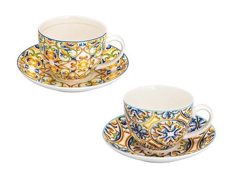 Set 2 cesti cu farfurie pentru ceai, Medicea, Brandani, 200 ml, portelan
