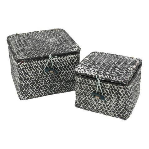 Set 2 cutii de depozitare Tresor, Compactor, papura, gri