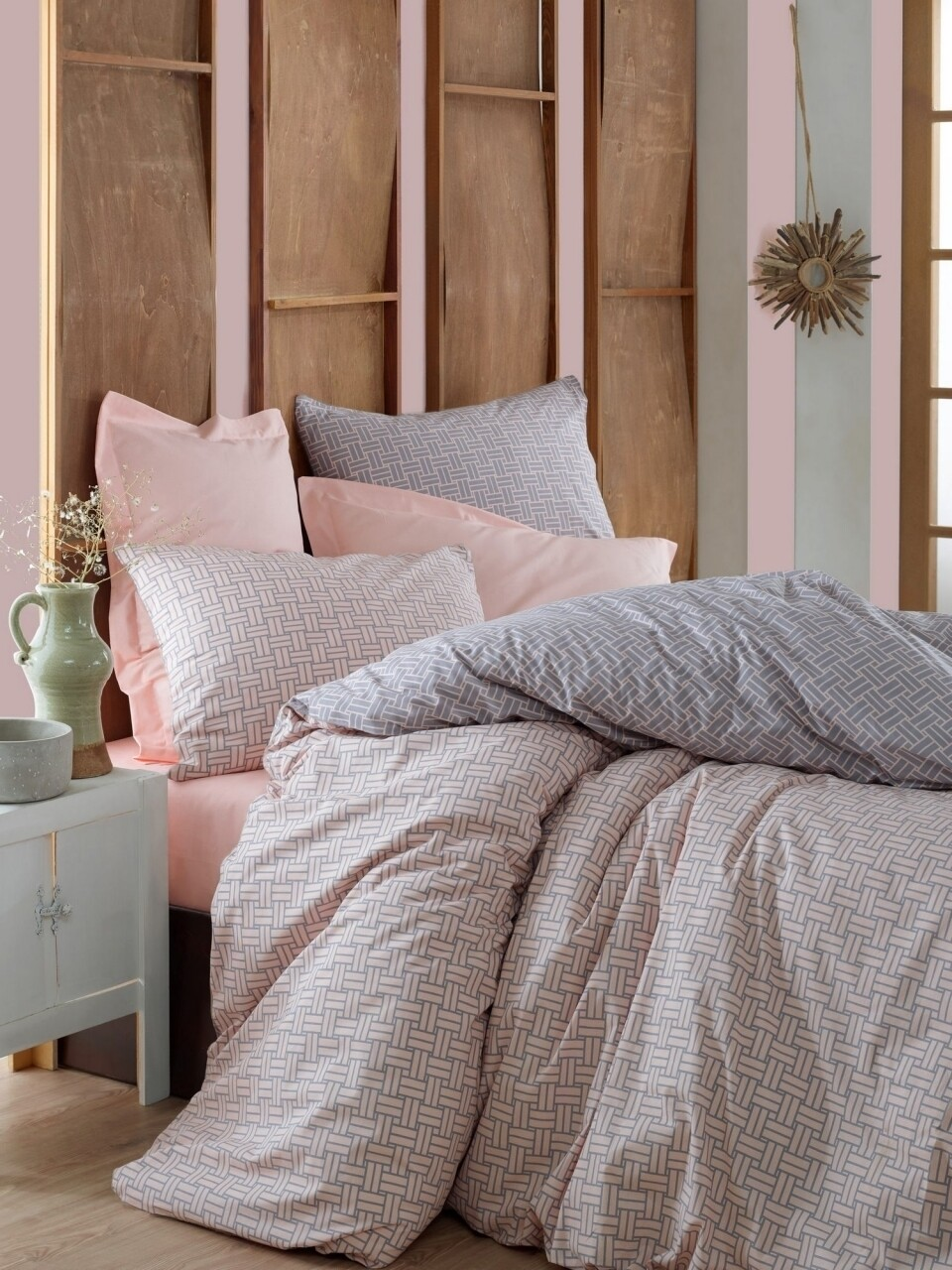 Lenjerie de pat pentru o persoana, 3 piese, 100% bumbac ranforce, Cotton Box, Must