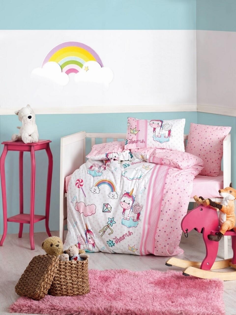 Lenjerie de pat pentru copii, 4 piese, 100% bumbac ranforce, Cotton Box, Unicorni