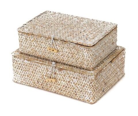 Set 2 cutii de depozitare Macao, Compactor, papura, bej