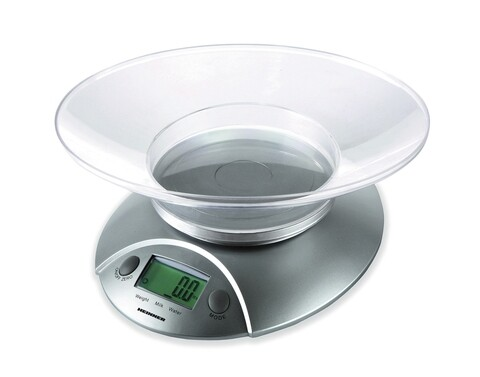 Cantar de bucatarie cu bol, Heinner, 5 kg, gri