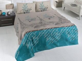 Cuvertura de pat dubla, Victoria, Paris, 200x230 cm, 100% bumbac, 260 gr/m², multicolor
