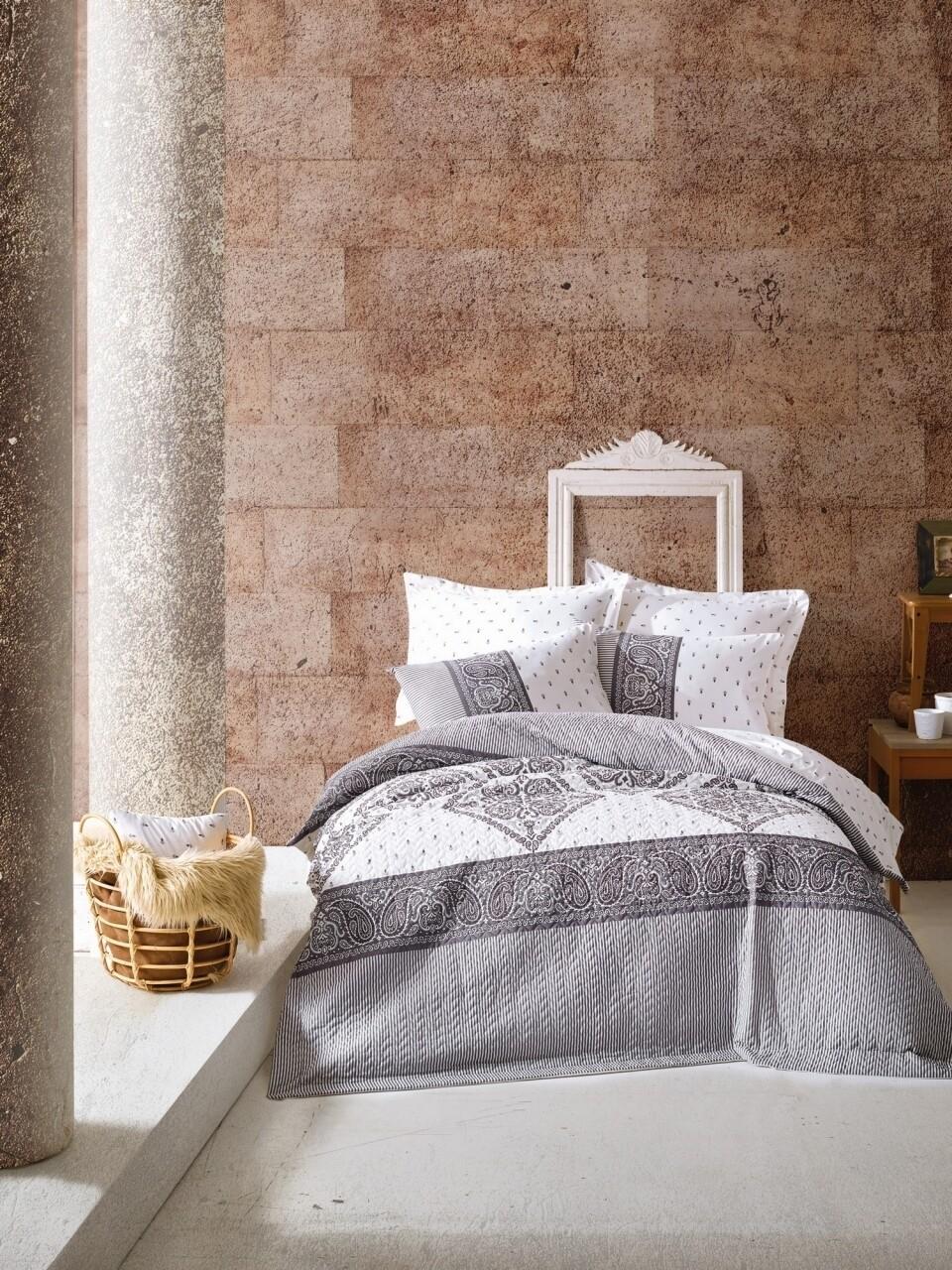 Lenjerie de pat matlasata pentru o persoana, 3 piese, 100% bumbac ranforce, Cotton Box, Alope Grey