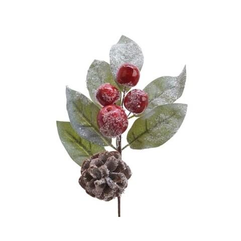 Decoratiune Pinecone w berries, Decoris, H18 cm, plastic/spuma, verde/rosu
