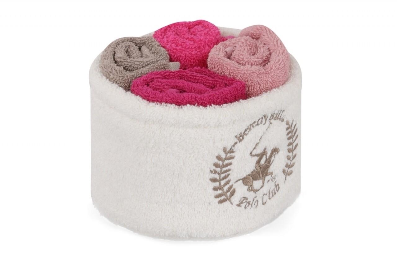 Set 4 prosoape de baie cu cos, Beverly Hills Polo Club, 30x30 cm,  100% bumbac, roz/frez/maro/ciclam