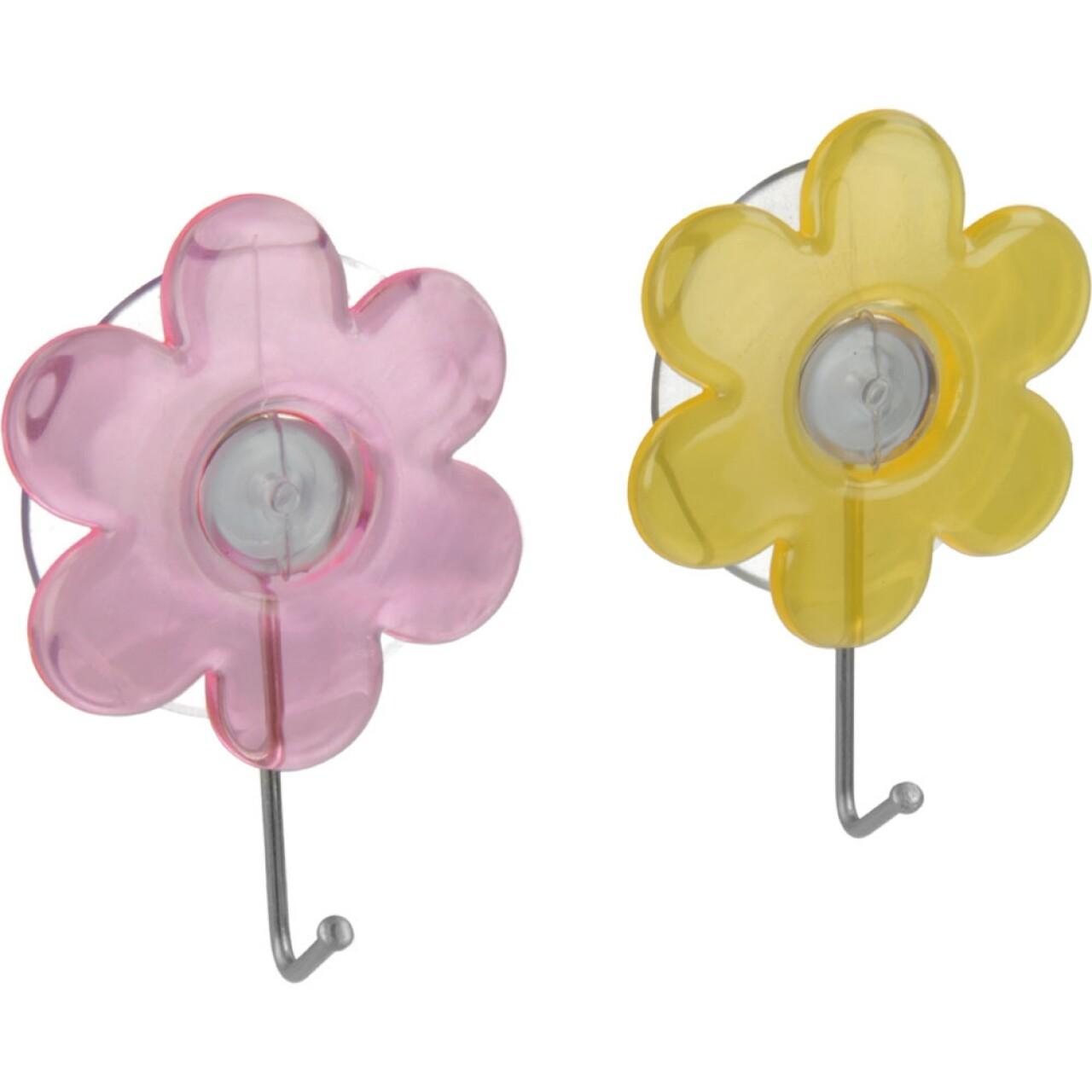 Set 2 carlige cu ventuza Flower, Metaltex, ventuze din PVC/metal, multicolore