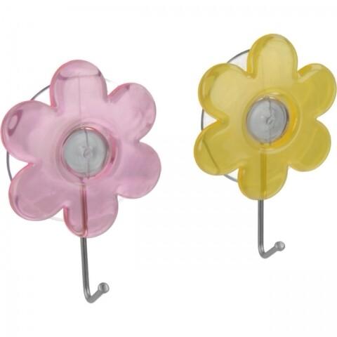 Set 2 cârlige cu ventuză Metaltex Flower