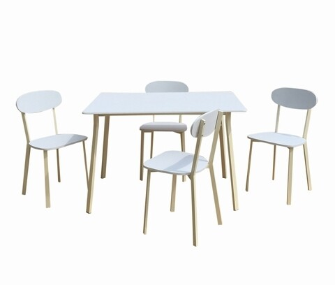 Set dining/bucatarie Bedora Osso, masa cu 4 scaune, 110 x 70 x 75 cm, metal/MDF