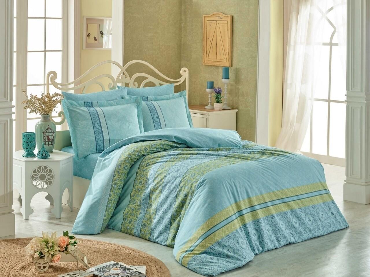Lenjerie de pat pentru o persoana, 3 piese, 100% bumbac poplin, Hobby, Emma, turcoaz