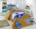 Lenjerie de pat pentru o persoana, 3 piese, 100% bumbac poplin, Hobby, Collage Yellow, multicolora