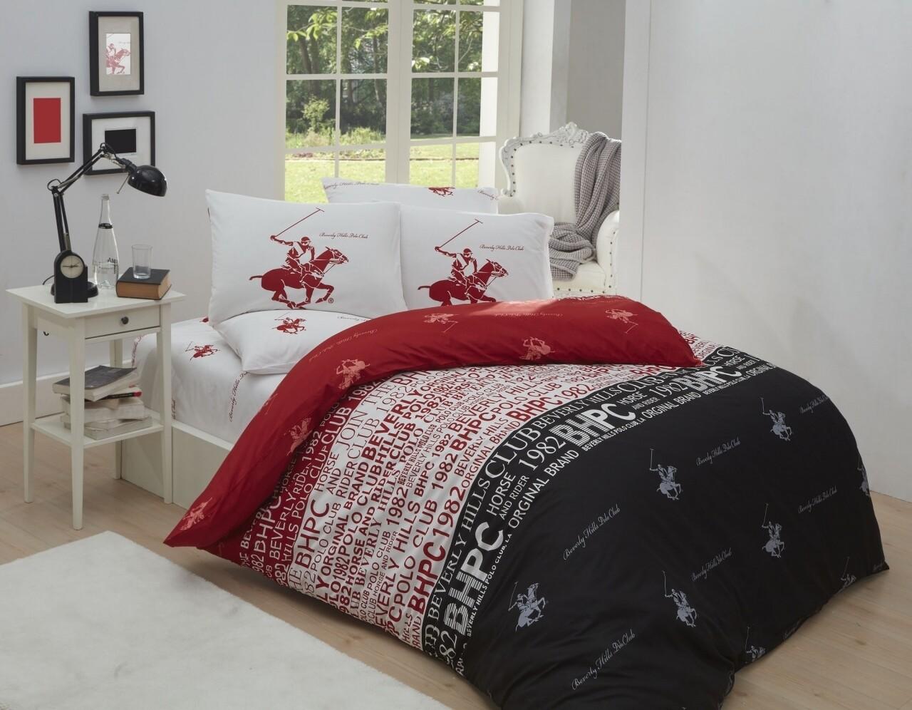 Lenjerie de pat dubla Black & Red, Beverly Hills Polo Club, 4 piese, 240 x 260 cm, 100% bumbac ranforce, rosu/alb/negru