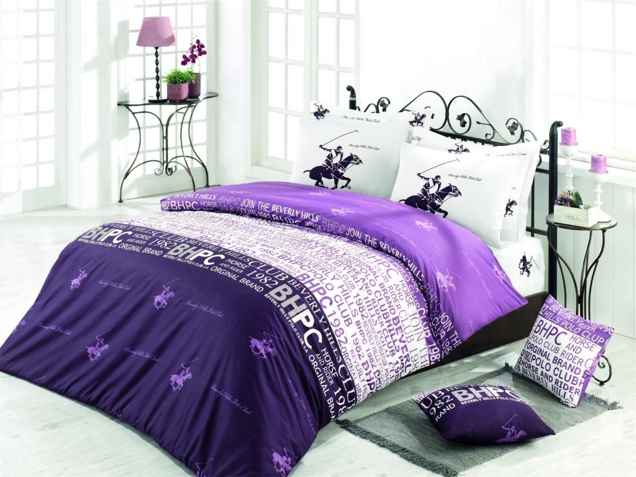 Lenjerie de pat pentru o persoana, Purple, Beverly Hills Polo Club, 3 piese, 160 x 240 cm, 100% bumbac ranforce, alb/violet