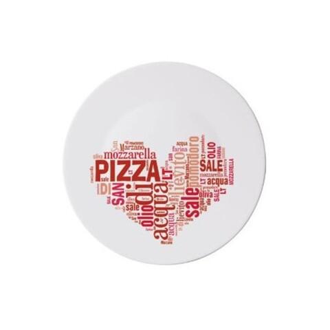 Platou pentru servire I love pizza, Bormioli, Ø33 cm, opal, rosu