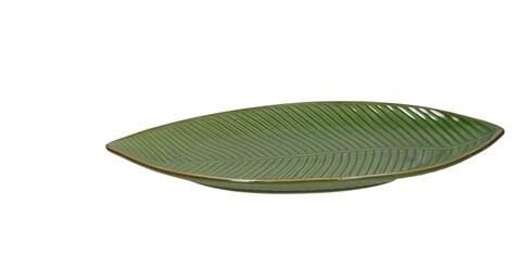 Platou pentru servire, Leaf Shaped, Tognana, 34x18x3 cm, ceramica glazurata, verde