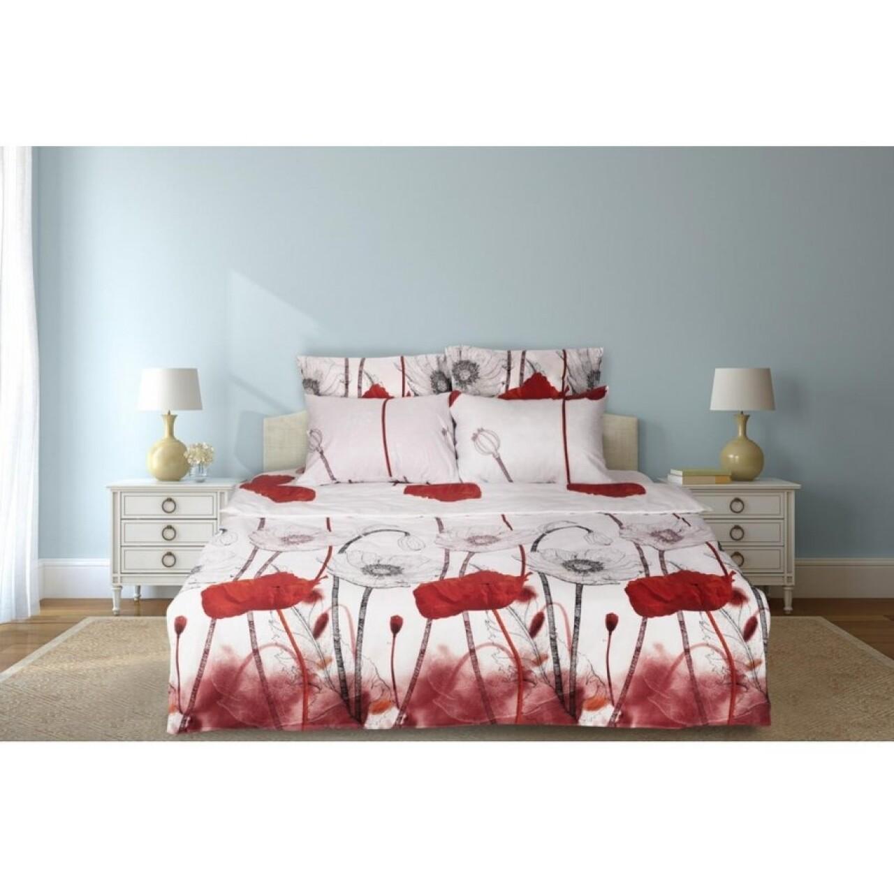 Lenjerie de pat dubla Maci, Heinner Home, 6 piese, 200x220 cm, 100% bumbac, rosu si alb