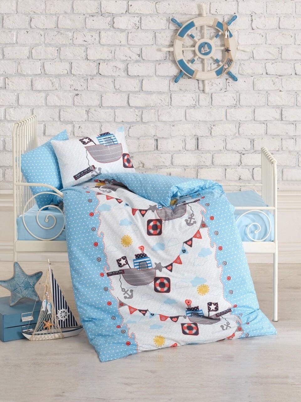 Lenjerie de pat pentru copii, 4 piese, 100% bumbac ranforce, Cotton Box, Vapor