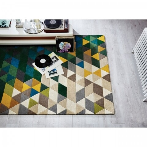 Covor Illusion Prism Green/Multi, Flair Rugs, 120 x 170 cm, 100% lana, multicolor