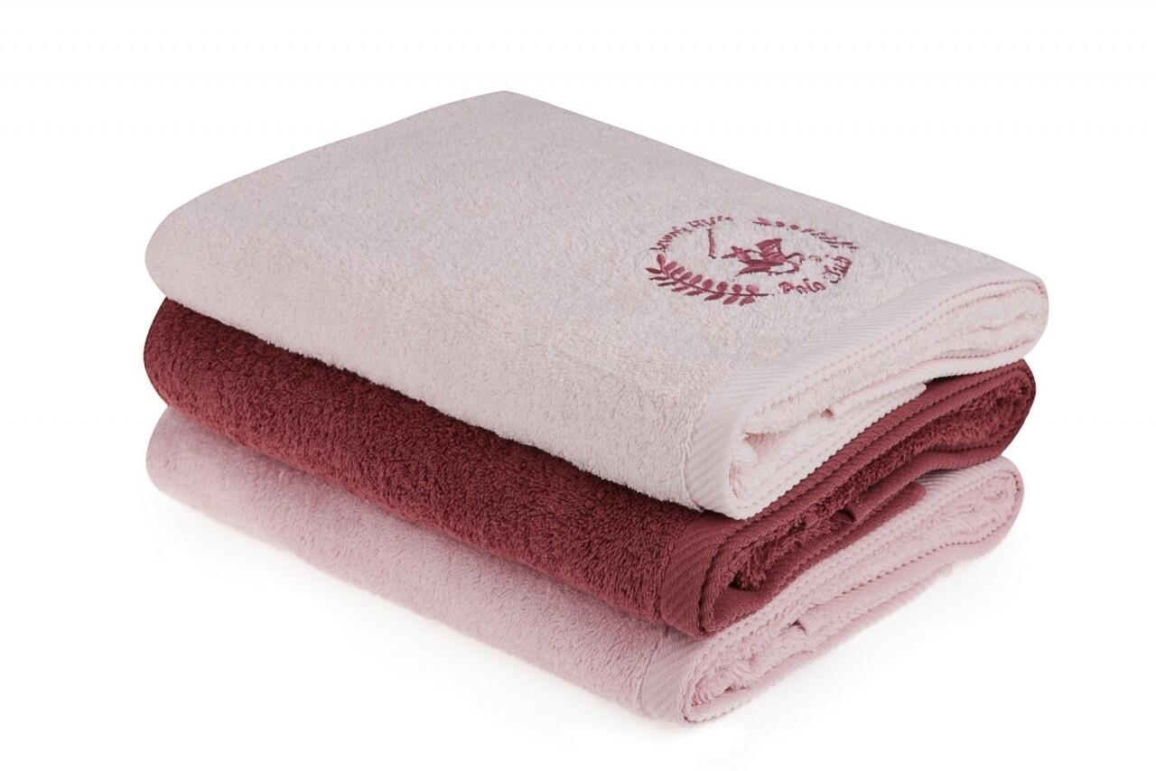 Set 3 prosoape de baie Beverly Hills Polo Club, 70x140 cm, 100% bumbac, Pink/Powder/Dusty Rose