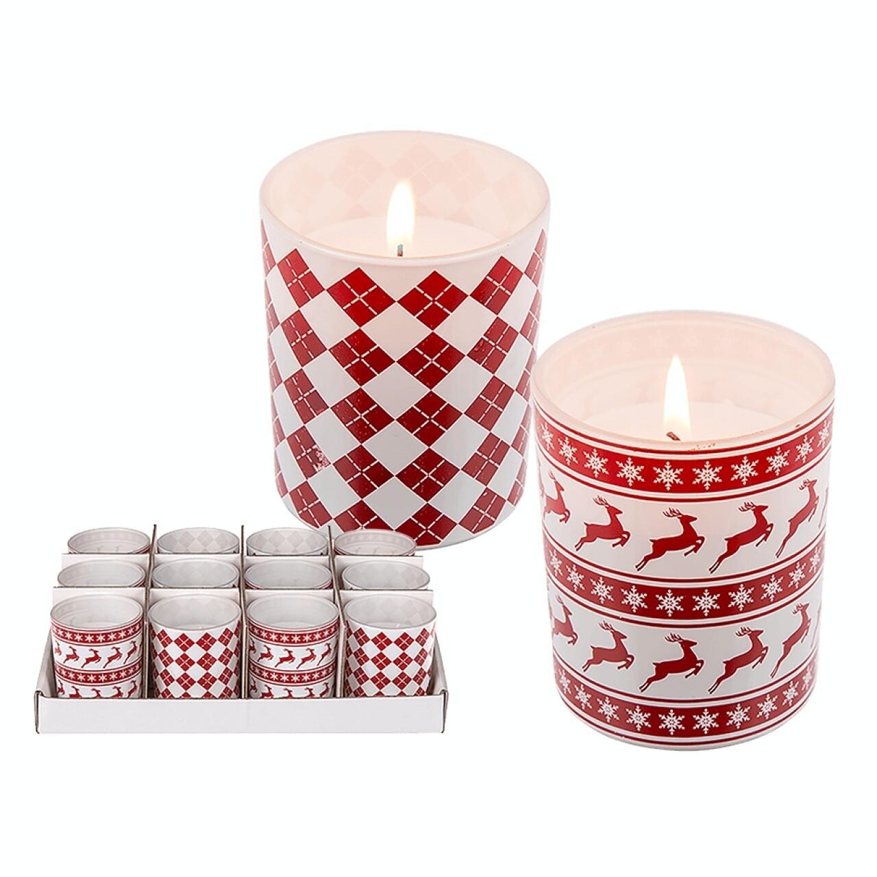 Set 2 lumânări în suport de sticlă Christmas is Here