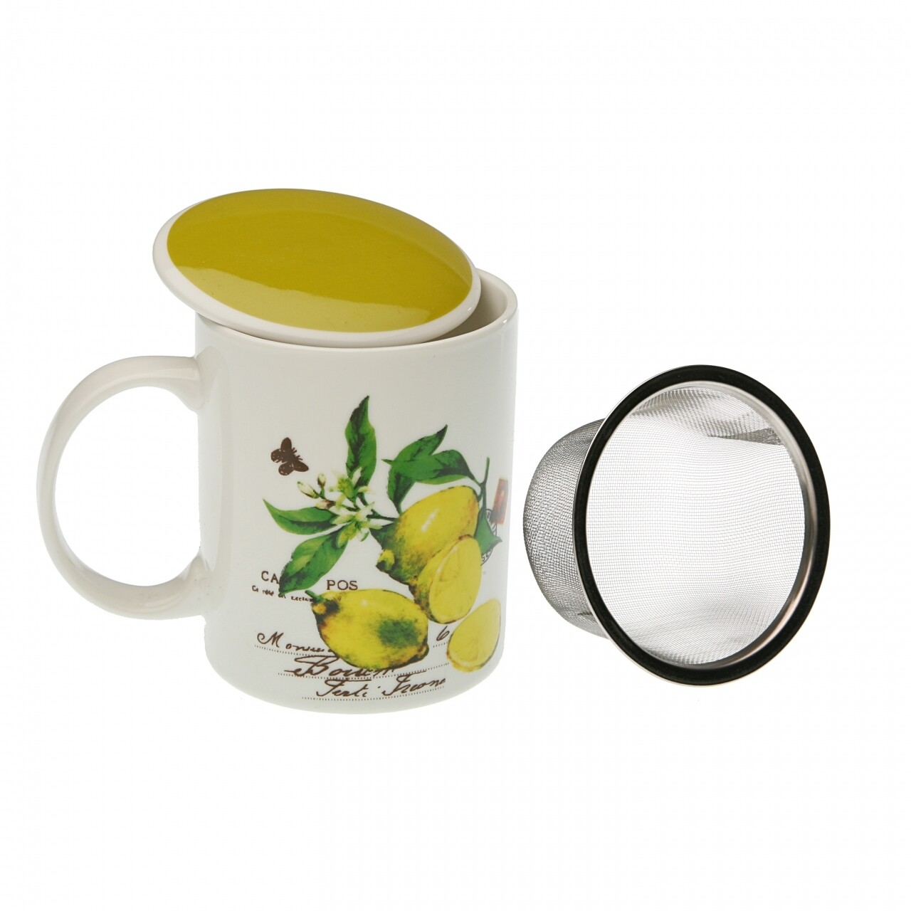 Cana pentru ceai Lemon, Versa,  350 ml, portelan, multicolora