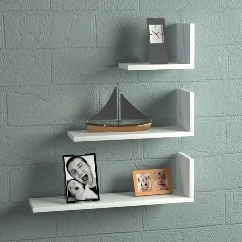 Set 3 rafturi pentru perete, Wooden Art, Atlas White