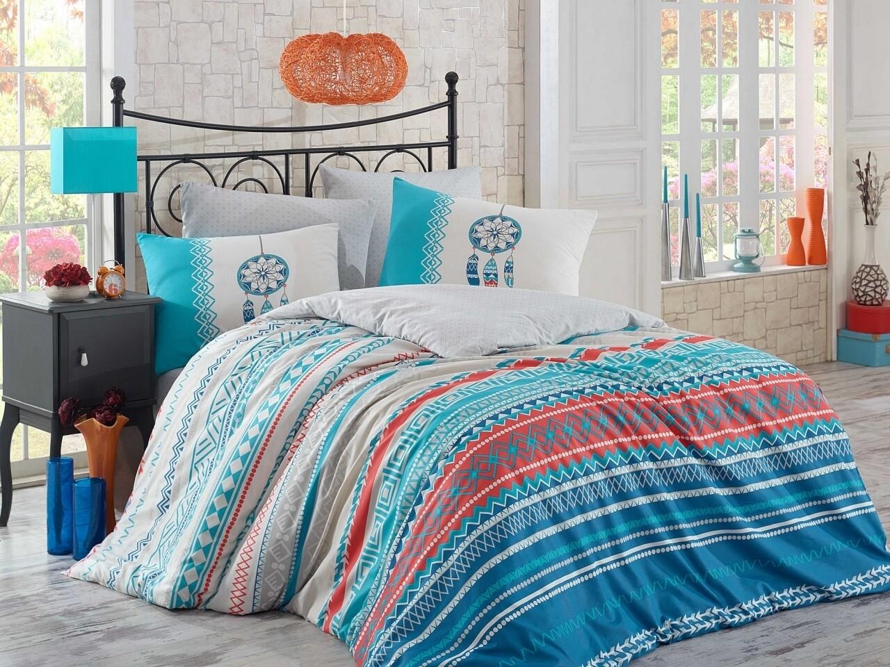 Lenjerie de pat pentru o persoana, 3 piese, 100% bumbac ranforce, Hobby, Eva, multicolora