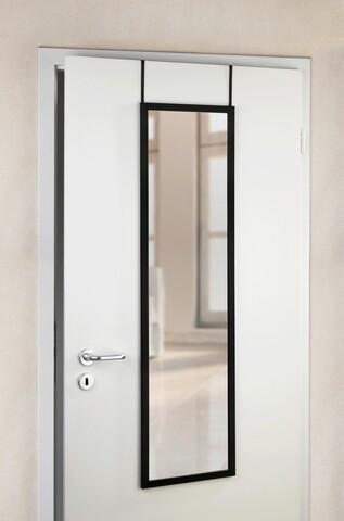 Oglinda suspendabila pe usa, Wenko, Arcadia, 30 x 120 cm, sticla/plastic, negru