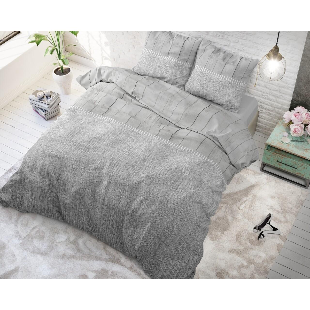 Lenjerie de pat dubla Wood Fabric Grey, Royal Textile, 3 piese, 200 x 220 cm, 100% bumbac, gri