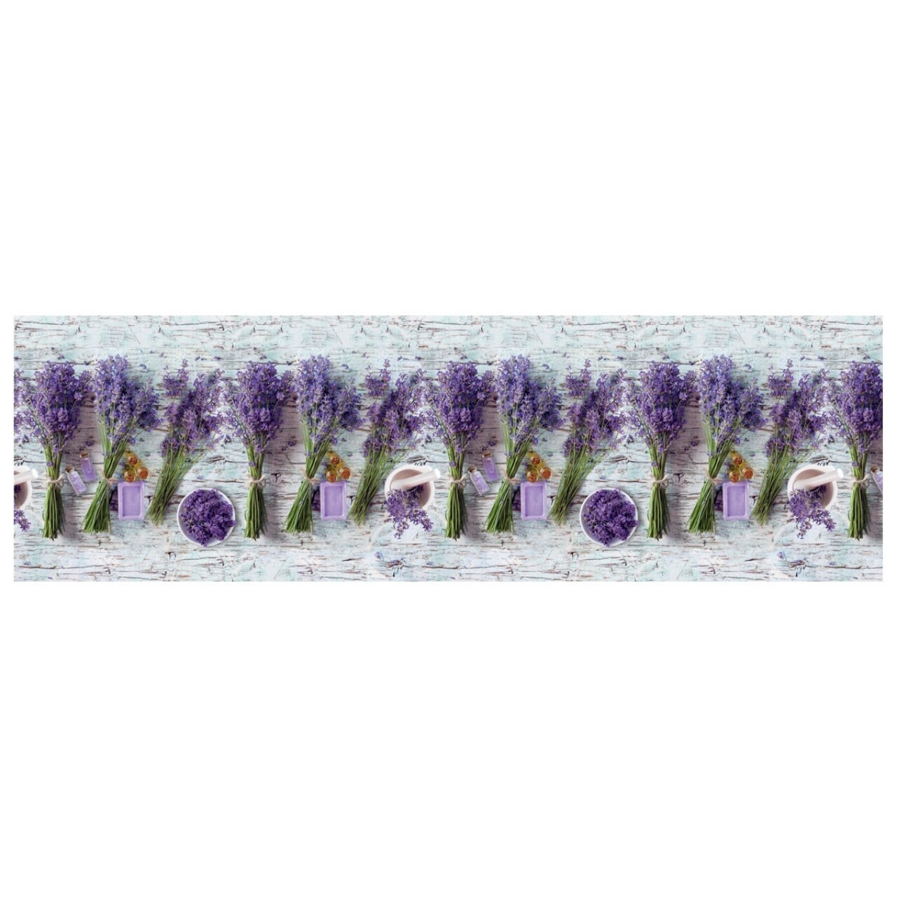 Covor rezistent Webtappeti Lavanda 58 x 240 cm, gri/mov/verde