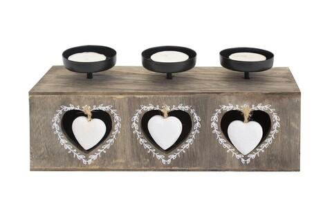 Suport pentru lumanari Heart, Bedora, 3 recipiente, lemn, maro